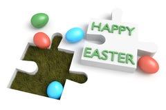Puzzle de Pâques : Joyeuses Pâques avec des oeufs Images stock