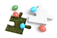 Puzzle de Pâques : Joyeuses Pâques avec des oeufs Image libre de droits