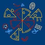 Puzzle de pizza Ensemble de pizza, morceaux de pizza Rassemblez la pizza vous-même illustration de vecteur