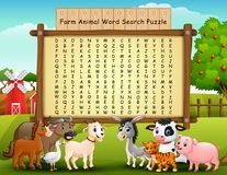 Puzzle de recherche de mot d'animaux de ferme illustration libre de droits
