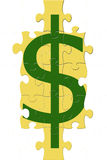 Puzzle de signe du dollar Images stock