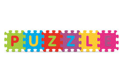 PUZZLE de vecteur écrit avec le puzzle d'alphabet Image stock