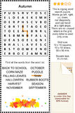 Puzzle de wordsearch d'automne Photographie stock libre de droits