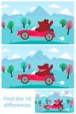Puzzle dei bambini - macchi le 10 differenze Immagini Stock Libere da Diritti