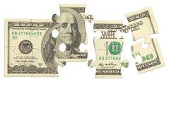 Puzzle dei soldi della banconota del dollaro Fotografia Stock
