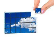 Puzzle del cielo e della mano Immagine Stock
