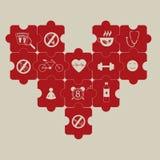 Puzzle del cuore e prevenzione di ipertensione Immagini Stock