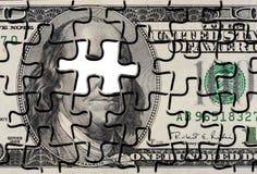 Puzzle del puzzle del Bill del dollaro US Fotografie Stock