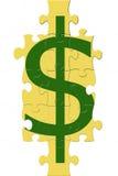 Puzzle del segno del dollaro Immagini Stock