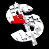 Puzzle del segno del dollaro Fotografie Stock Libere da Diritti