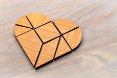 Puzzle del tangram del cuore Fotografia Stock Libera da Diritti
