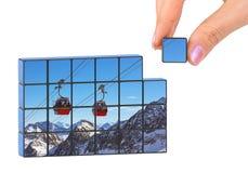 Puzzle dell'Austria di inverno e della mano (la mia foto) Fotografia Stock Libera da Diritti