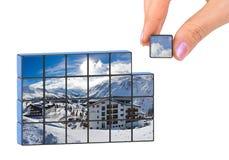 Puzzle dell'Austria di inverno e della mano (la mia foto) Immagini Stock