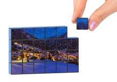Puzzle dell'Austria di inverno e della mano (la mia foto) Fotografia Stock