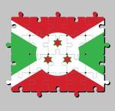 Puzzle della bandiera del Burundi in un incrocio diagonale bianco diviso in quattro pannelli di rosso e di verde e la stella tre royalty illustrazione gratis