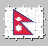 Puzzle della bandiera del Nepal Concetto di adempimento o di perfezione illustrazione di stock