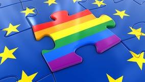Puzzle della bandiera di LGBT come componente dell'UE Immagini Stock
