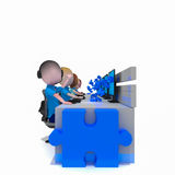 Puzzle della call center di bisness dell'operatore Immagine Stock Libera da Diritti