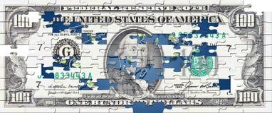 Puzzle della fattura del dollaro di Hunderd Fotografia Stock