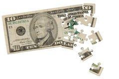Puzzle della fattura del dollaro dieci Fotografia Stock