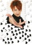 Puzzle della mano della donna di affari Fotografia Stock