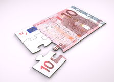 Puzzle della nota dell'euro 10 Immagine Stock Libera da Diritti