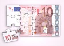 Puzzle della nota dell'euro 10 - vista superiore Fotografia Stock Libera da Diritti