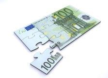 Puzzle della nota dell'euro 100 Fotografie Stock