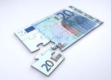 Puzzle della nota dell'euro 20 Immagine Stock