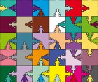 Puzzle della squadra di amicizia Fotografia Stock