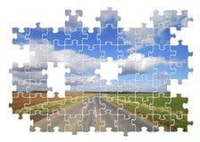Puzzle della strada campestre di Yorkshire Fotografia Stock