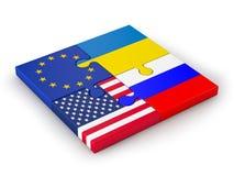 Puzzle delle bandiere impilate Fotografia Stock