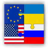 Puzzle delle bandiere impilate Fotografie Stock Libere da Diritti