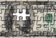 Puzzle denteux de Bill de dollar US Photos stock