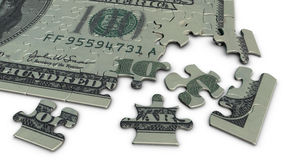 puzzle denteux de billet d'un dollar 100 Photographie stock