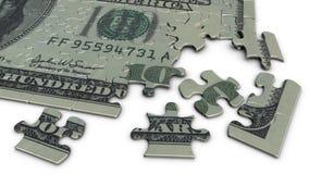 puzzle denteux de billet d'un dollar 100 Photographie stock