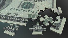 puzzle denteux de billet d'un dollar 100 Image stock