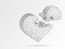 Puzzle denteux de coeur L'origami de Saint-Valentin dénomme poly d'abrégé sur cardiologie de médecine bas, polygonal, wireframe d illustration libre de droits