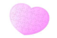 Puzzle denteux rose en forme de coeur Image libre de droits
