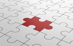 Puzzle denteux rouge parmi les puzzles blancs dans le concept différent illustration de vecteur