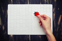 Puzzle denteux vide avec les morceaux blancs, mais avec un morceau rouge Images libres de droits