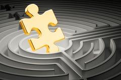 Puzzle dentro il labirinto del labirinto 3d Fotografie Stock Libere da Diritti