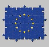 Puzzle der Flagge der Europäischen Gemeinschaft in einem Kreis von zwölf fünf-spitzen gelben Sternen auf einem blauen Feld vektor abbildung