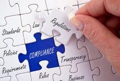 Puzzle di conformità e di regolamenti o di politiche Immagini Stock
