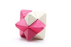 Puzzle di legno del cubo Fotografie Stock