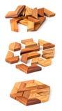 Puzzle di legno del hexahedron Fotografie Stock Libere da Diritti