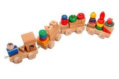 Puzzle di legno del treno con le vetture Fotografie Stock