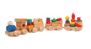 Puzzle di legno del treno con le vetture Fotografie Stock Libere da Diritti
