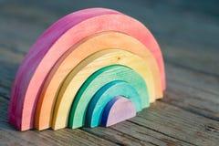 Puzzle di legno dell'arcobaleno Immagine Stock Libera da Diritti