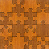 Puzzle di legno montati per fondo senza cuciture Fotografia Stock Libera da Diritti